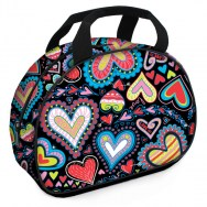 Girls Lunchbag - True Love Hearts Black Polyester